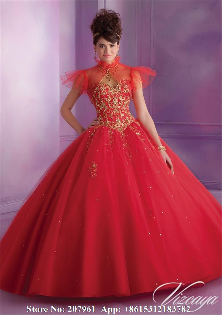 Vestidos de xv color rojo con dorado
