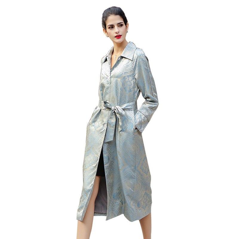 VOA 2020 Весенняя мода серебристо серый винтажный элегантный Шелковый жаккардовый плащ размера плюс с поясом женское роскошное тонкое длинное