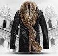 HOT Free shippingSelling men's brand leather jacket , high-grade sheep fur coat , men's winter lapel fur coat ,BLACK,M-4XL