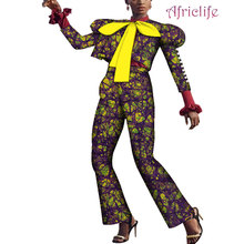 African Print Clothing Women Short Tops and Pants African Puff Sleeve Top with Big Bow and Long Pants Set Women Clothes WY4131 geometric print knot back top with pants