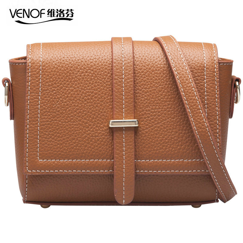 VENOF Fashion genuine leather women Shoulder Bags simple female Cross-body Bags Casual ladies messenger bags Small square bags 2017 new female genuine leather handbags first layer of cowhide fashion simple women shoulder messenger bags bucket bags