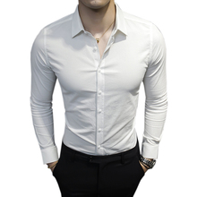 Hot sale 2017 New Men's Long-sleeved Shirt Fashion Casual Men Slim Business Solid Color Shirt Brand Men's Clothing