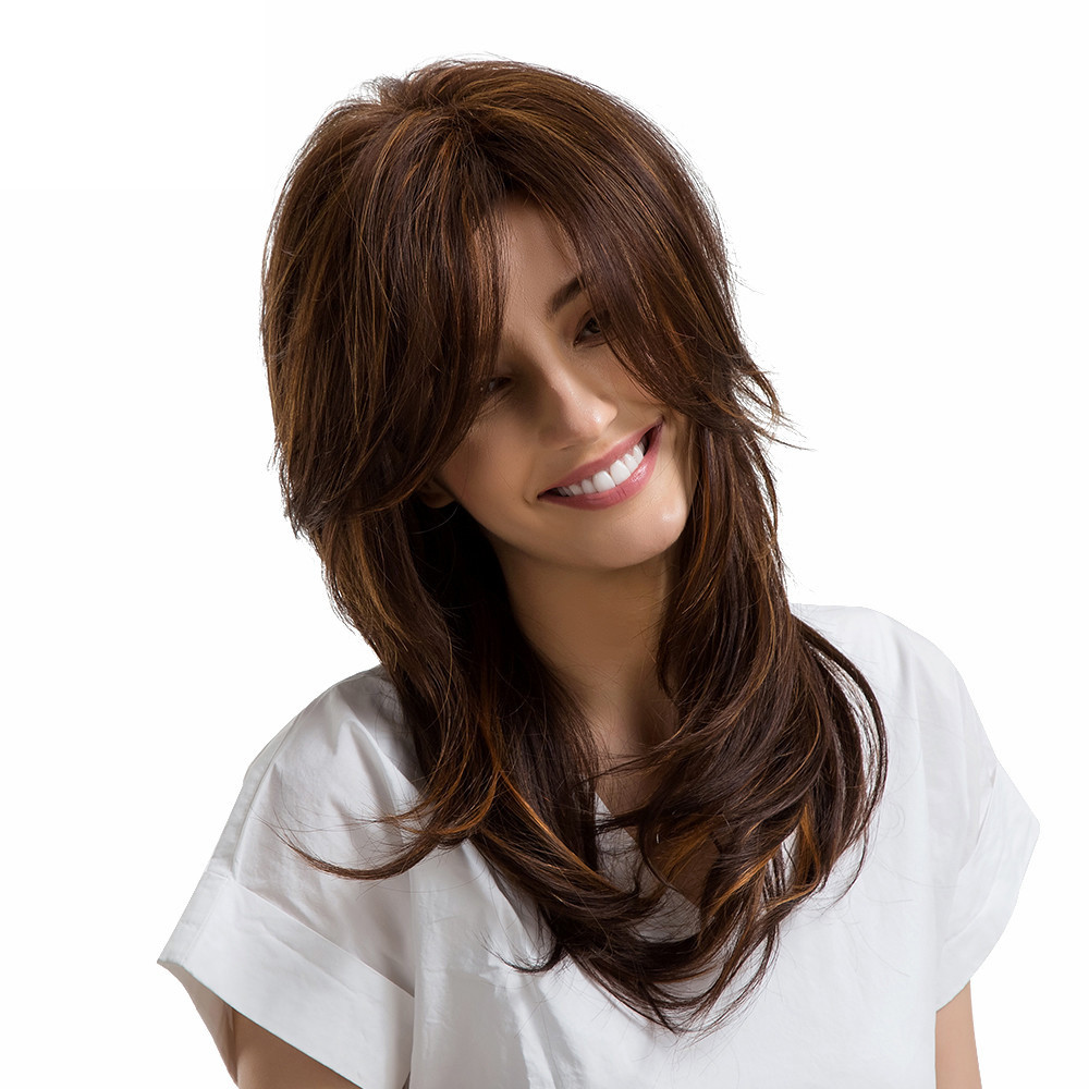 2018 Long Wig Ladies Side Parting Multi-layered Long Hair Human Hair Wigs With Bangs long side bang colormix layered wavy synthetic wig
