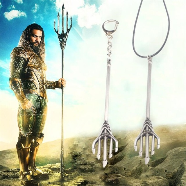 Movie Superheros Aquaman Trident Model Keychain Necklace Cosplay Key Chain Cosplay Props