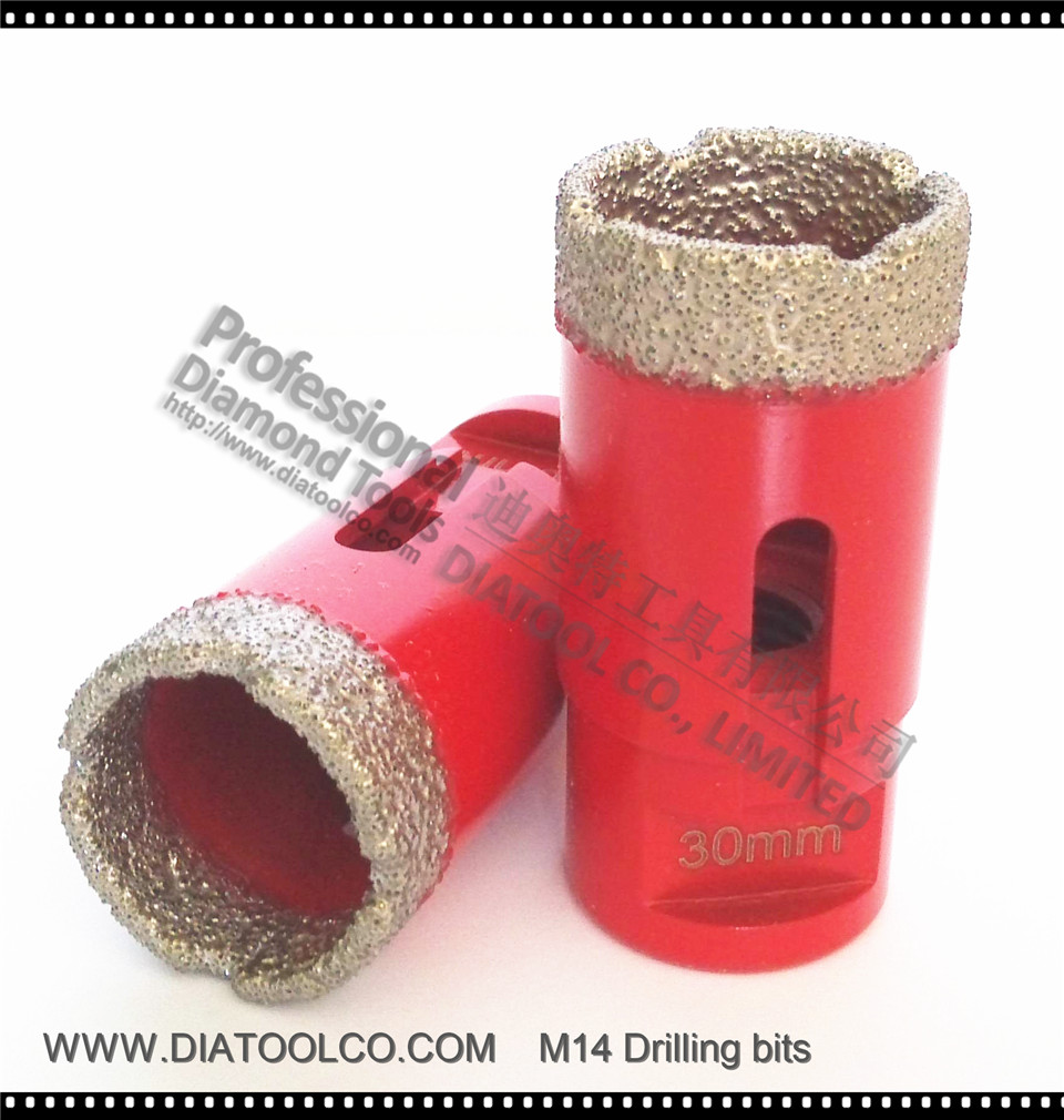Dia30mm Vacuum brazed diamond drilling bits for granite & marble , M14 connection dry or wet drilling, professional quality