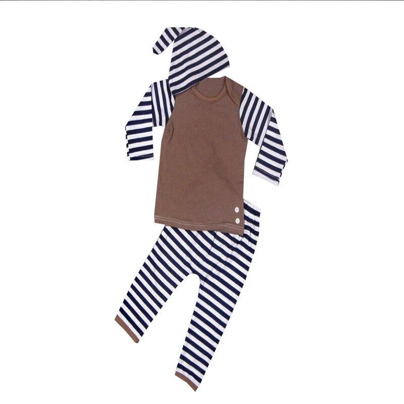 2017 Baby Boys Striped Clothes Set 3Pcs Newborn Babies Autumn Cotton Long Sleeve T-Shirt+Pants+Hat Suit Casual Boys Clothing Set