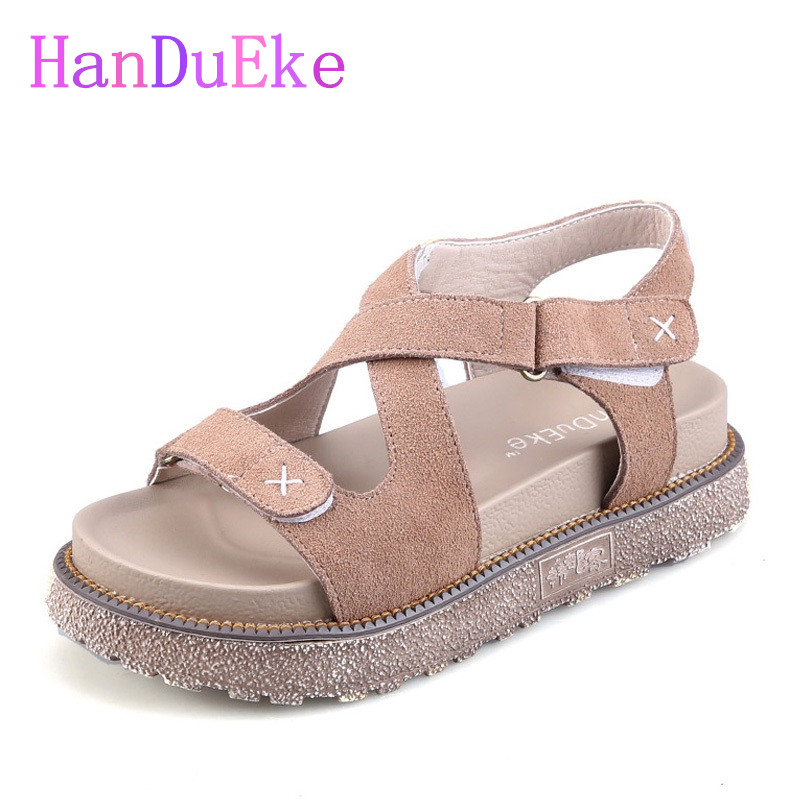 HanDuEKe Hot 2017 Summer Women Genuine Leather Gladiator Sandals Fashion Girls Wedges Platform Sandals Casual Beach Shoes Woman phyanic 2017 gladiator sandals gold silver shoes woman summer platform wedges glitters creepers casual women shoes phy3323