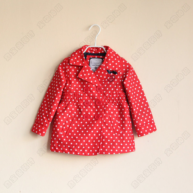 Is Stock Children's Baby double-breasted Dot Dust Coat Girls Love wave point trench coats overcoat red blue Wholesale