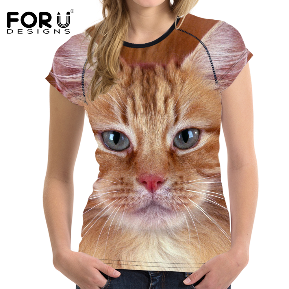 FORUDESIGNS Cute Pet Cat Printing Women Short Sleeve T Shirt Summer Breathable Casual Top Tees For Female Girls Elastic Soft Tee