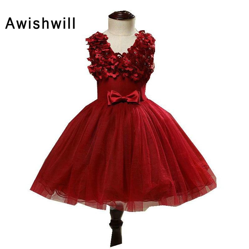 V-образный вырез Симпатичное вино Красного цвета Цветочные платья для девочек с бантом Бальные платья Pageant Платья для вечеринок Robe De Fille De Fleur Kids