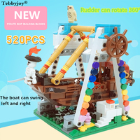 Pirate ship building blocks 520PCS Pirate Ship Black Pearl Boat 3D Model Building Blocks mini streets Gifts for kids Can shake