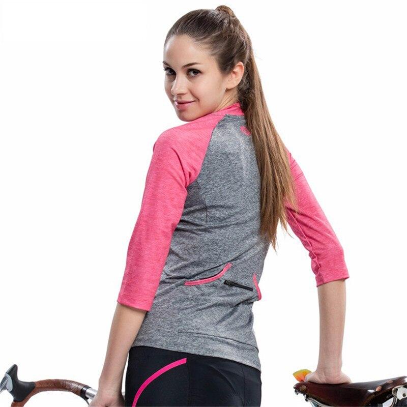Maillot de cyclisme Santic femmes 3/4 Maillot de vélo de route de montagne à manches courtes Maillot de Motocross vélo hauts Maillot Ciclismo - 3