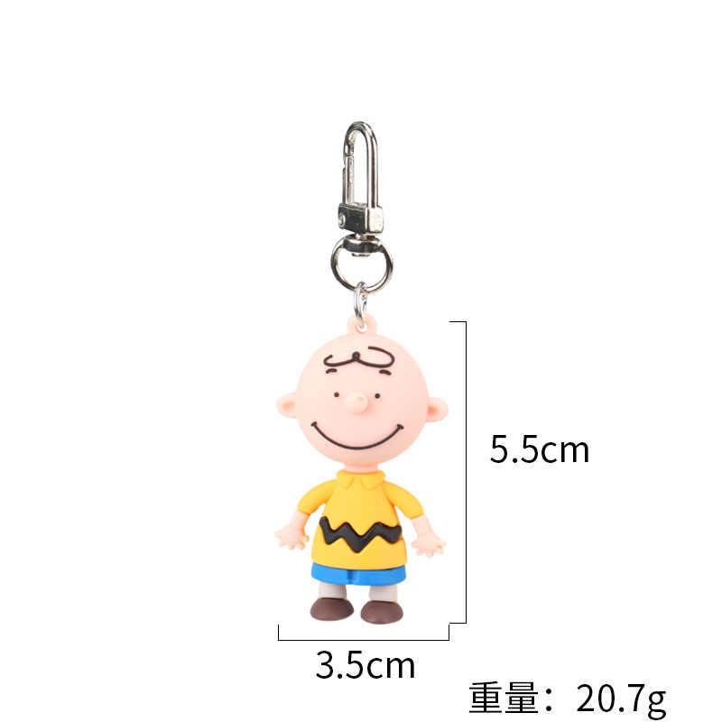 Llavero lindo de dibujos animados de Charly Brown para mujer creativo bolso de coche accesorios de encanto Anime llavero novio mujeres llavero regalos