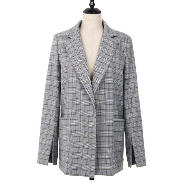 2018 New Fashion Elegant Gray Plaid Office Lady Blazer 3