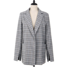 2019 New Autumn Women Gray Plaid Office Lady Blazer Fashion Bow Sashes Split Sleeve Jackets Elegant Work Blazers
