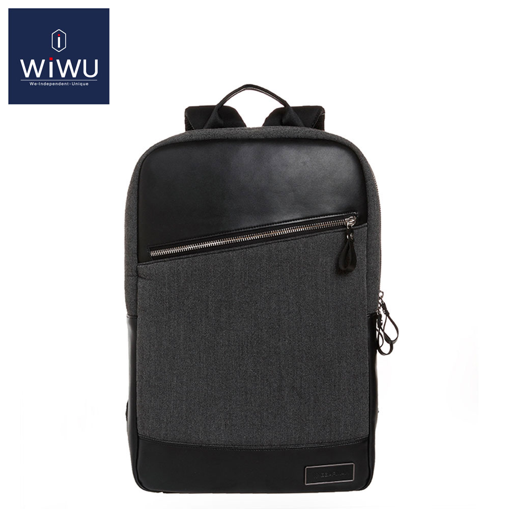WiWU Gray GENUINE LEATHER Women Men's Computer Backpack 14 15.4 15.6 Inch Bag for Dell