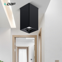 [DBF]Square White/Black Surface Mounted Downlight 15W 20W AC85 265V Shining Reflector Spot Light for Living Room Bedroom Hallway
