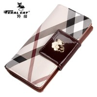 NPASON FERAL CAT 2017 Luxury Famous Brand Style High Quality Brand Logo Women Wallets Fashion Purse