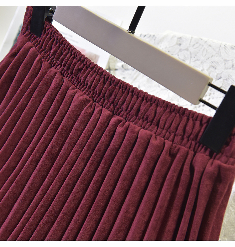 19 Two Layer Autumn Winter Women Suede Skirt Long Pleated Skirts Womens Saias Midi Faldas Vintage Women Midi Skirt 5