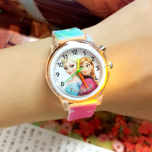 2019 Princess Children Watches Electronic Colorful Light Source Child Watch Girl