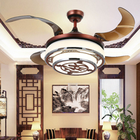 Chinese Style Ceiling Fan Hidden Blades Y4220 Red Body Retractable Blades Creative design ceiling fan lamp