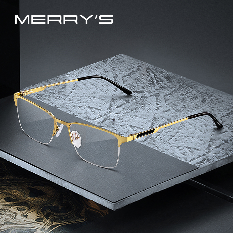 MERRYS DESIGN Men Titanium Alloy Glasses Frame Male Square Ultralight Eye Myopia Prescription Eyeglasses Male Half S2125
