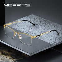 MERRYS DESIGN Men Titanium Alloy Glasses Frame Male Square Ultralight Eye Myopia Prescription Eyeglasses Male Half S2125