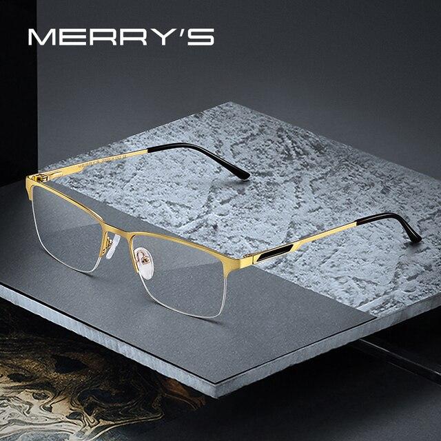 MERRYS DESIGN Men ไทเทเนี่ยมกรอบแว่นตาชายชายสแควร์ Ultralight สายตาสั้นแว่นตาชายครึ่ง S2125