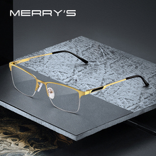 MERRYS gafas cuadradas y ultralivianas para hombre, anteojos masculinos con diseño de Montura de gafas de aleación de titanio, graduadas para miopía, S2125