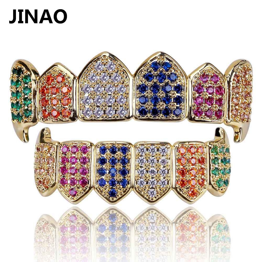 Jinao Hip Hop Teeth Grillz Gold Color Amp Silver Plated Micro