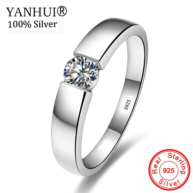 YANHUI 100% Solid 925 Sterling Silver Wedding Rings for Women and Men set 6mm 1Ct CZ Zirconia Jewelry Engagement Gift Ring NRD10