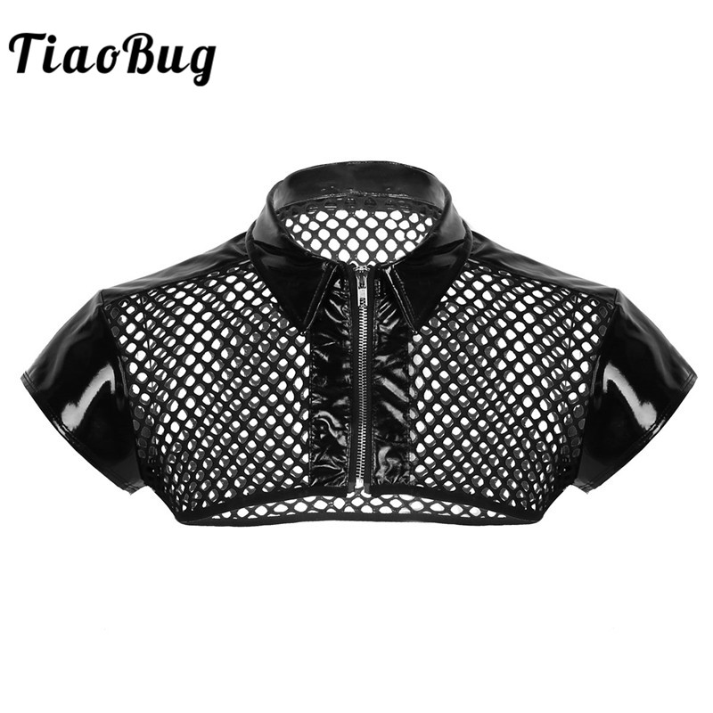 TiaoBug Mens Mesh Fishnet See Through Patent Leather Splice Harness Muscle Bondage Hot Sexy Men Clubwear Costume Crop   Tank     Top