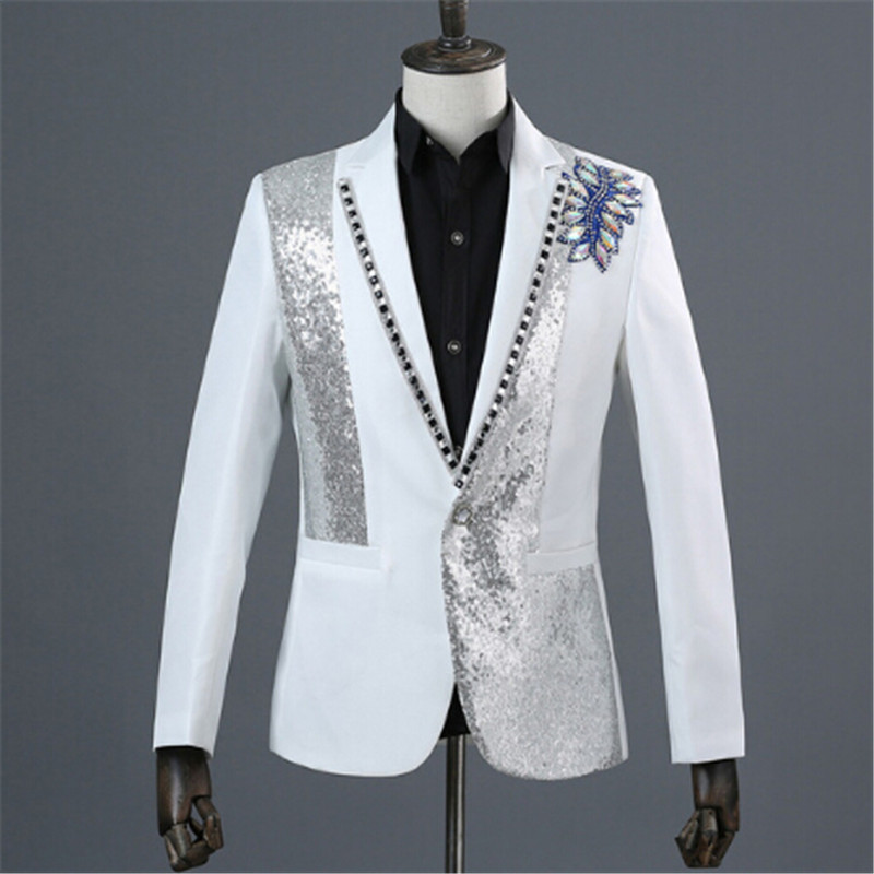 2018 Black White Sequins Inlaid Crystal Stage Show Singer