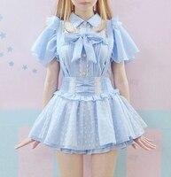 Mùa hè Cao Eo Dễ Thương của Nhật Bản Ruffle Tình Yêu In Ren Váy Cô Gái Trẻ Cô Gái Treo Có Thể Tháo Rời Quai Lolita Hồng Xanh Váy