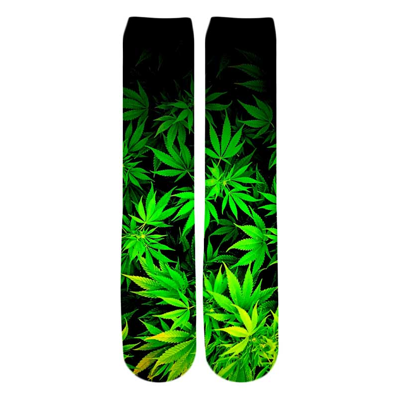 PLstar Cosmos Drop shipping 2018 New style Fashion Knee High Socks Colorful weeds and Red rose Print 3d Men's Women's Sock 2