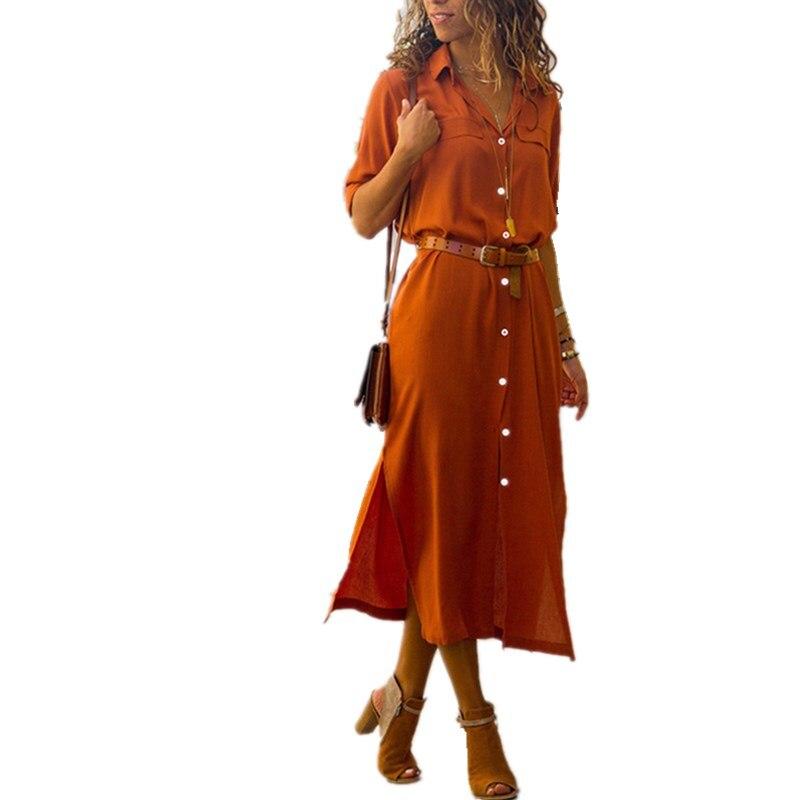 LOSSKY sólido 2018 nuevo de moda Casual de las mujeres Vestido largo mujer Otoño Invierno manga larga Botón de camisa Maxi vestidos Vestido