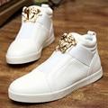 Estilo británico de los hombres de alta superior zapatos planos negro blanco de cuero zapatos de deporte ocasional del hombre de hip hop zapatos zapatillas hombre XK082402