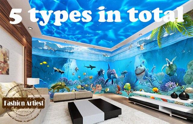Large Wall 3d Dolphin Wallpaper Mural Sea Ocean Live Fish Aquarium Sofa Tv  Bedroom Living Room