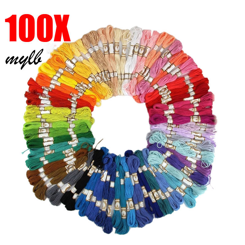 100X Skein Coloured Embroidery Thread Cotton Cross Stitch Braiding Craft Sewing