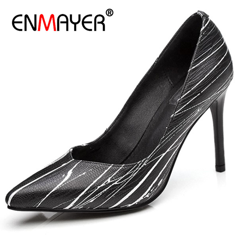 ENMAYER Pointed Toe Office Ladies Shoes Woman High Heels Pumps White Shoes Plus Size 34-43 Black Womens enmayer cross tied shoes woman summer pumps plus size 35 46 sexy party wedding shoes high heels peep toe womens pumps shoe