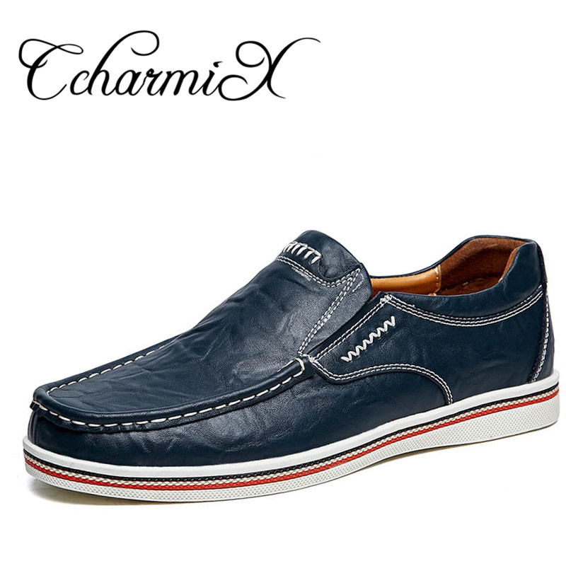 CcharmiX Brand Minimalist Design Split Leather Men Dress Shoes Hot Sell Mens British Style Boat Shoes