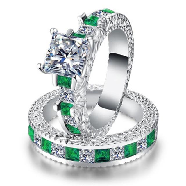 Doppio Verde Quadrato Blu CZ Anello in Rhodium Placcato Fedi Nuziali AAA Zircon Dei Monili Accessori Delle Donne di Fidanzamento anello di Cerimonia Nuziale 2