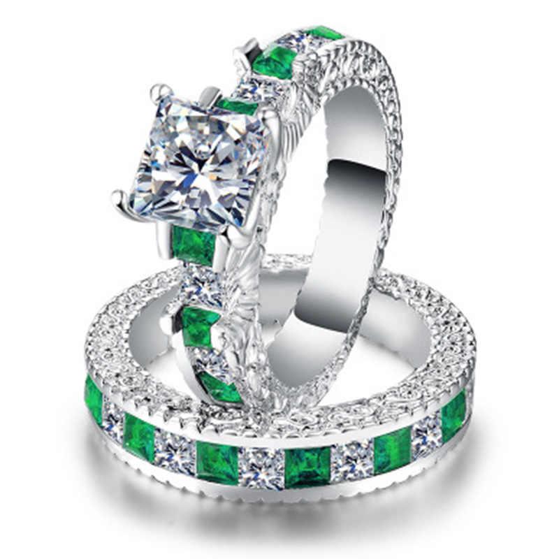 คู่สีเขียวสแควร์CZแหวนโรเดียมชุบแหวนแต่งงานAAA Zirconเครื่องประดับอุปกรณ์เสริมสำหรับผู้หญิงหมั้นแหวน