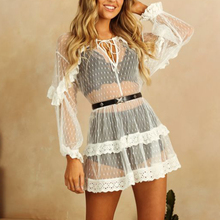 Black White Sexy See Through Mesh Lace Dress Summer 2019 Beach Dress Women Holiday Vestidos Boho Chic Frill Dot Dress For Lady mesh overlay frill hem dress