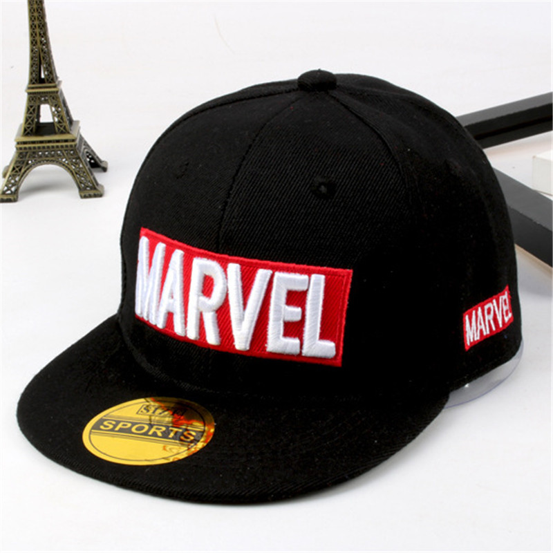 2019latest model Marvel children's hat MARVEL letters hip hop hat boys and girls flat   cap   summer street dance   baseball     cap
