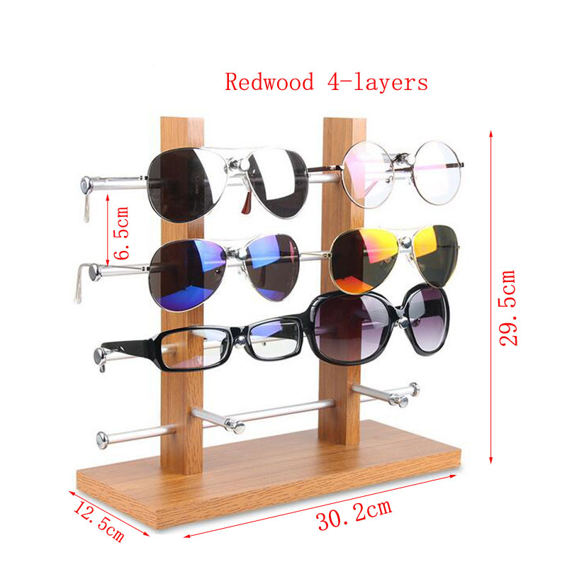 Double Row Solid Wood Base Glasses Display Stand Aluminum Alloy Sunglasses Display Stand Myopia Bracket Storage Rack
