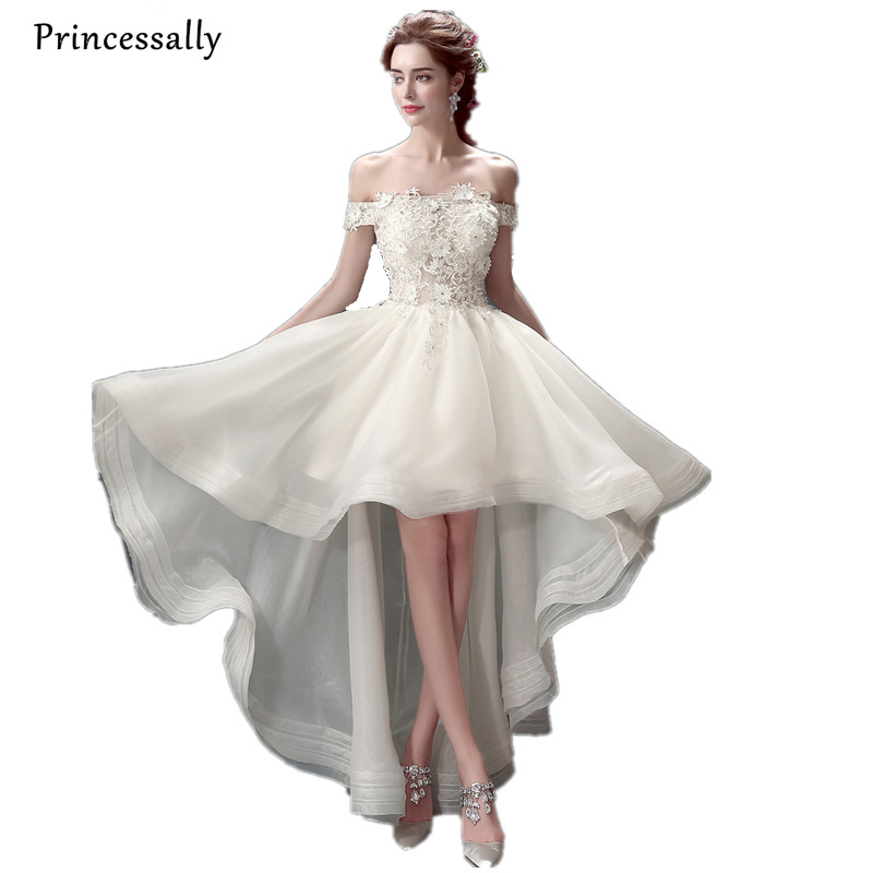High Low Wedding Dress Sexy Boat Neck Appliques Beading