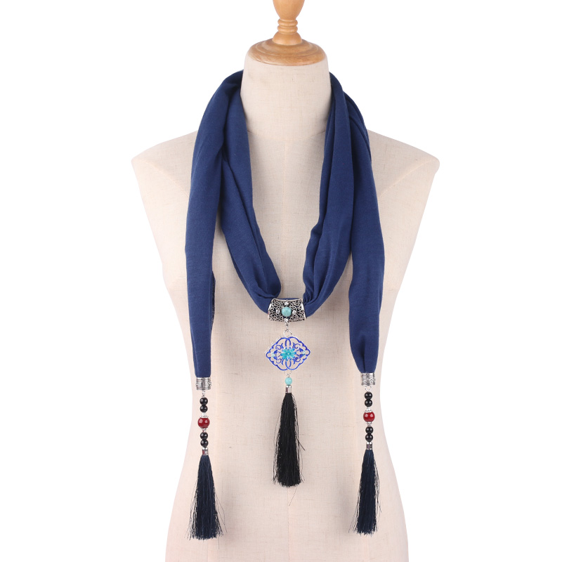 Pendant Necklace Scarf For Women Chiffon Cotton Scarves With Pendant Foulard Femme Accessories Scarf Ethnic Scarf Free  Shipping