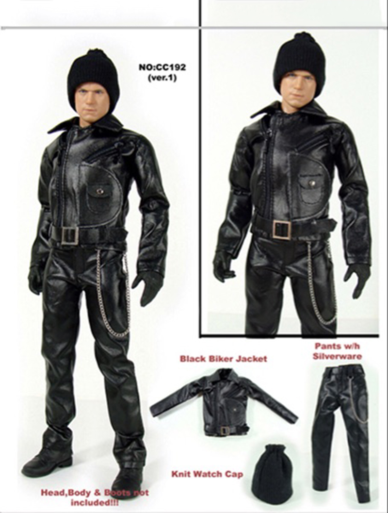 Toys & Hobbies 1/6 Black Leather Motorcycle Overcoat Pants Belt Hat Set Model