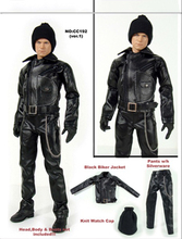 1/6 Black Leather Motorcycle Overcoat Pants Belt Hat Set Models for 12''Action Figures Bodies Accessories цена в Москве и Питере